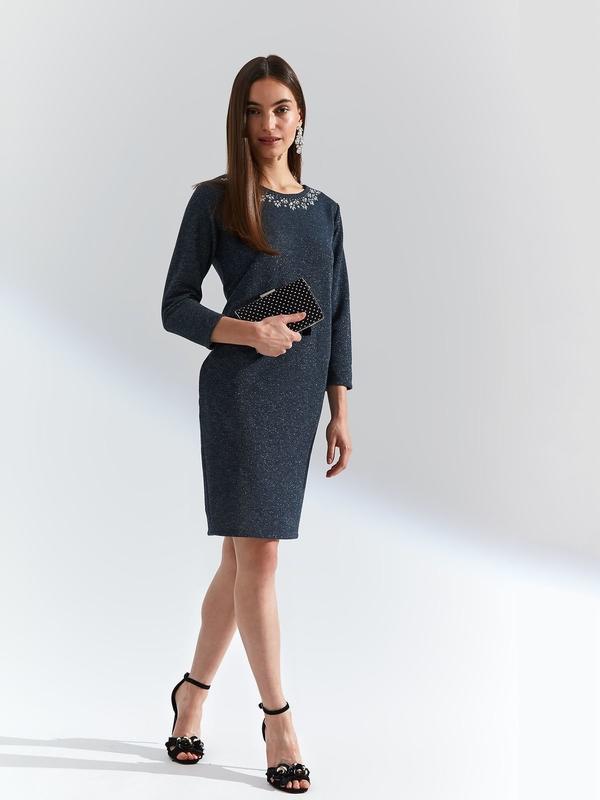 Granatowa sukienka Top Secret z okrągłym dekoltem z długim rękawem midi