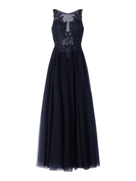 Granatowa sukienka V.m. z tiulu maxi