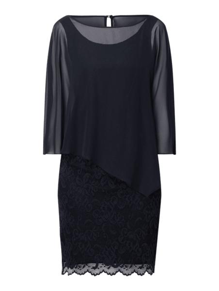 Granatowa sukienka Vera Mont z długim rękawem asymetryczna mini