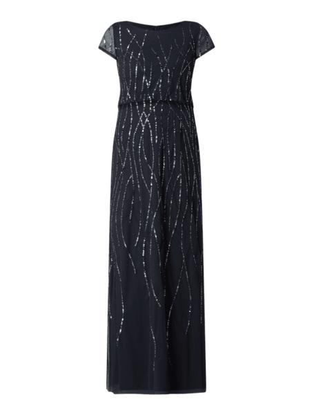 Granatowa sukienka Vera Mont z krótkim rękawem z tiulu