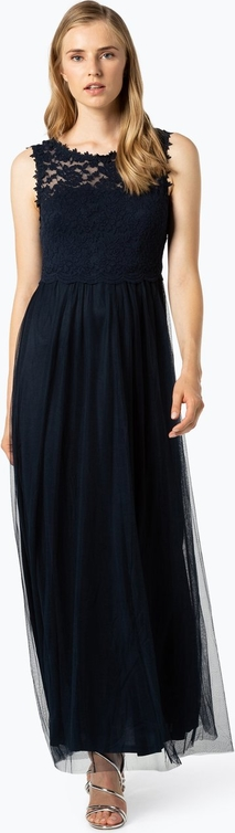 Granatowa sukienka Vila z okrągłym dekoltem maxi rozkloszowana