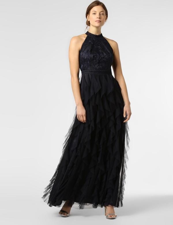 Granatowa sukienka VM z dekoltem halter rozkloszowana