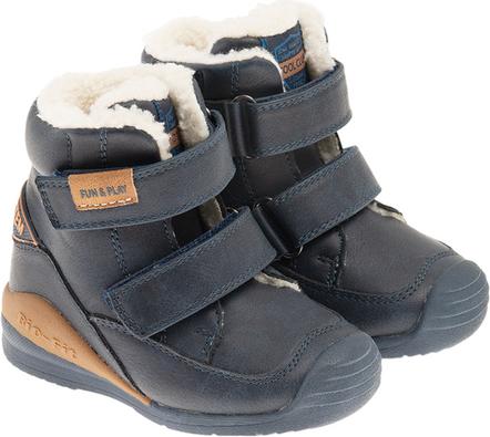 Granatowe buty dziecięce zimowe Cool Club na rzepy