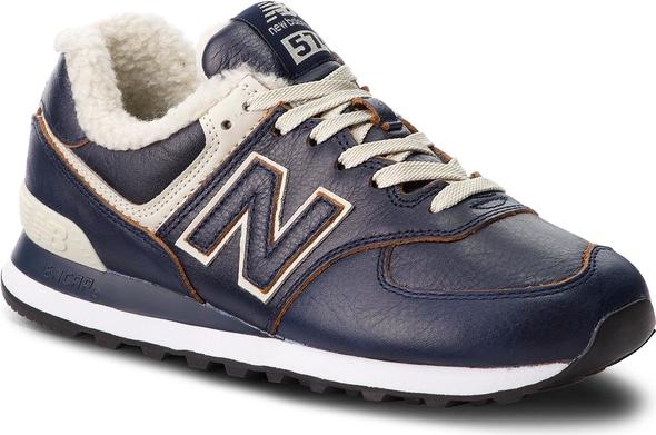 Granatowe buty sportowe New Balance sznurowane ze skóry ekologicznej