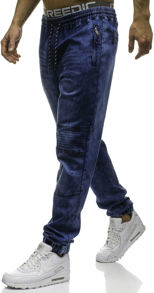 Granatowe jeansy denley bez wzorów