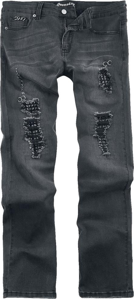 Granatowe jeansy Doomsday w młodzieżowym stylu z jeansu