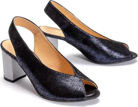 Granatowe sandały KRYSTAD z okrągłym noskiem na średnim obcasie