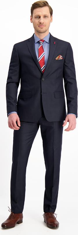Granatowy garnitur Lavard z tkaniny