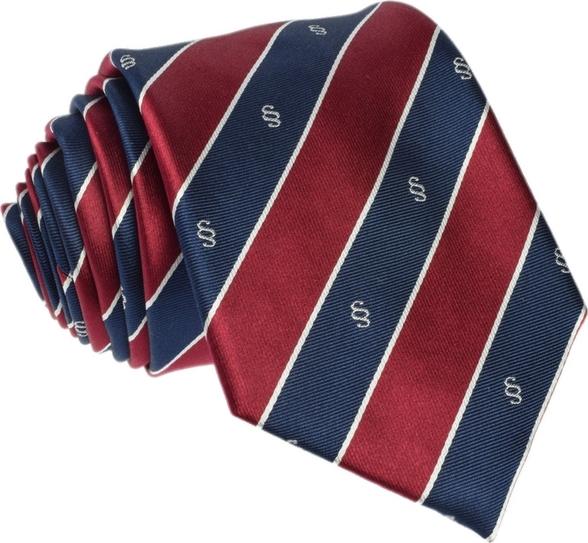 Granatowy krawat republic of ties z wełny z nadrukiem