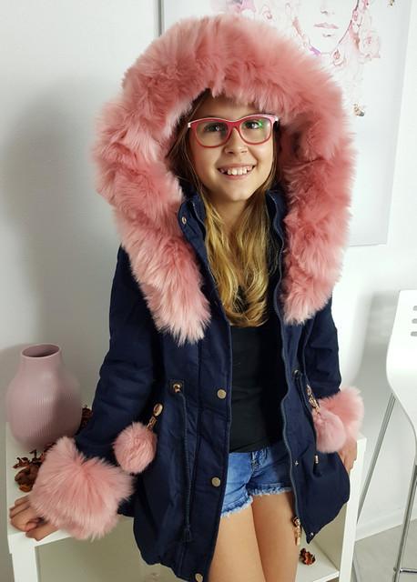 Granatowy płaszcz dziecięcy Ligari Kids