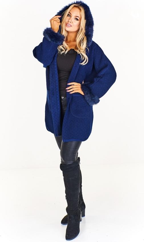 Granatowy płaszcz Fokus z wełny