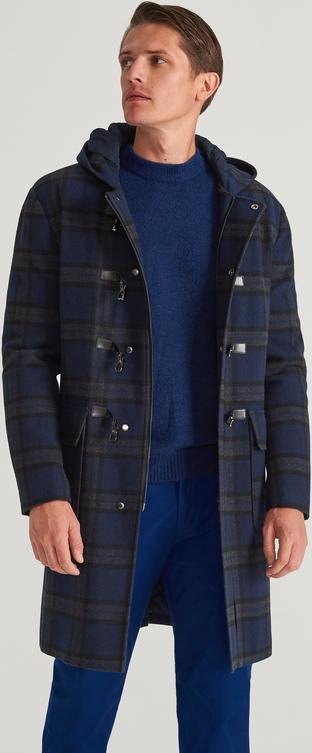 Granatowy płaszcz męski Reserved z wełny