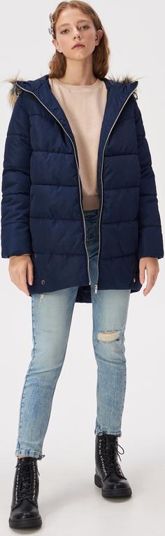 Granatowy płaszcz Sinsay w stylu casual