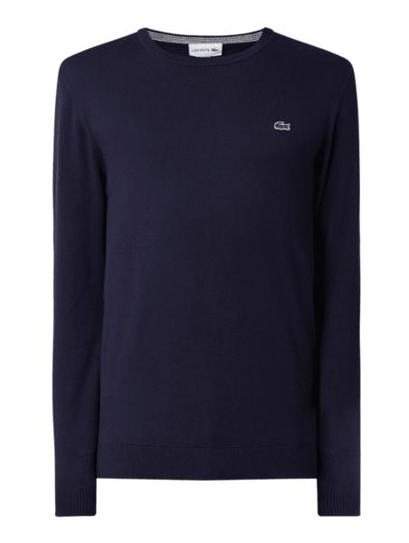 Granatowy sweter Lacoste z bawełny