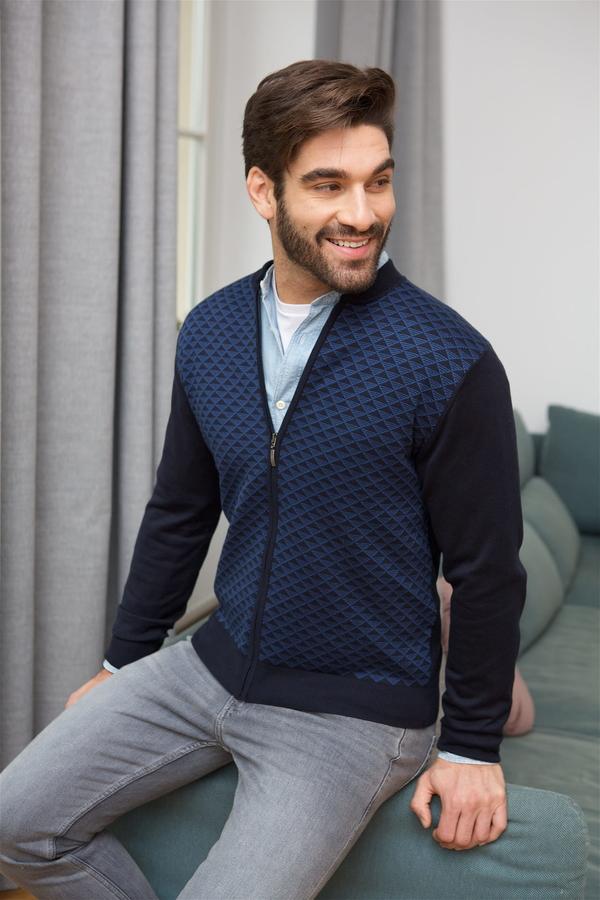 Granatowy sweter Lanieri Fashion z bawełny