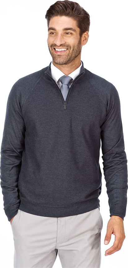 Granatowy sweter Lanieri Fashion z żakardu