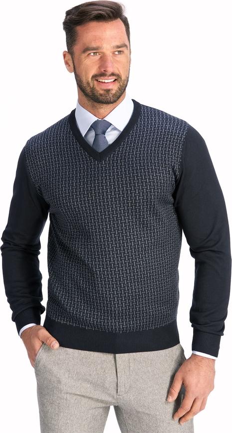 Granatowy sweter Lanieri z żakardu