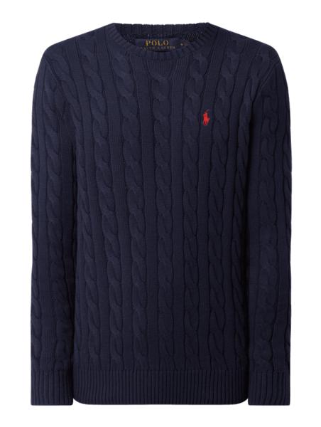 Granatowy sweter POLO RALPH LAUREN w stylu casual z bawełny
