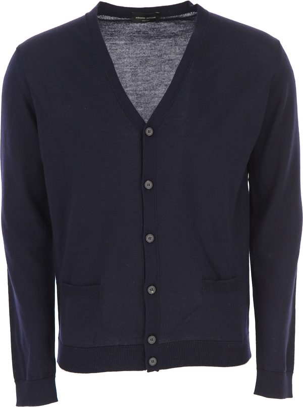 Granatowy sweter Roberto Collina w stylu casual