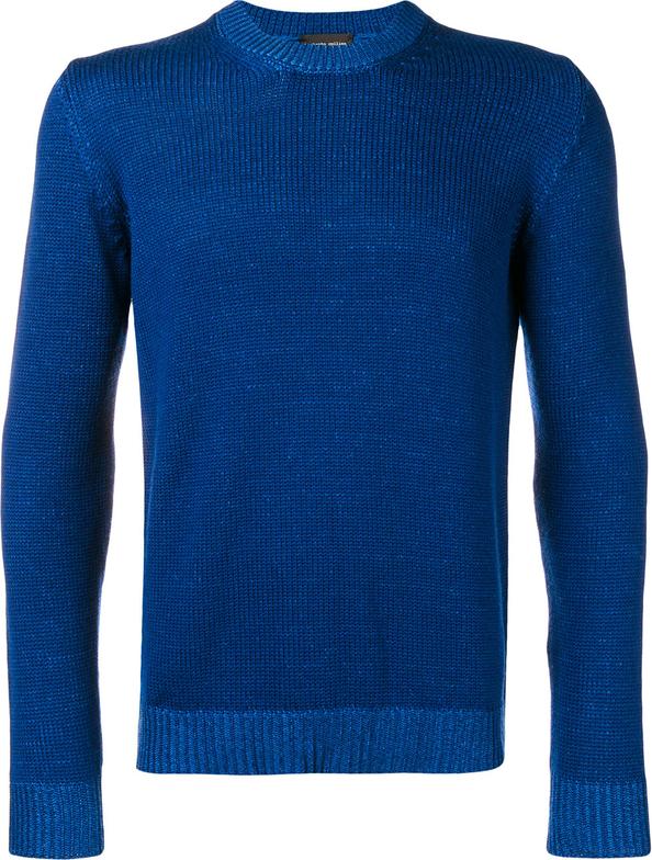 Granatowy sweter Roberto Collina z wełny w stylu casual
