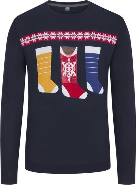 Granatowy sweter S.Oliver z nadrukiem