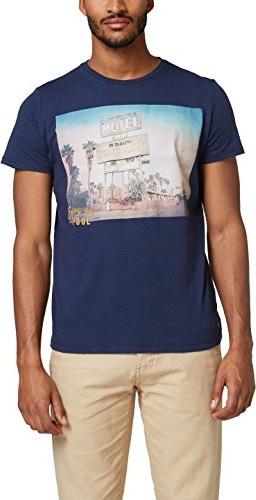 Granatowy t-shirt amazon.de z krótkim rękawem