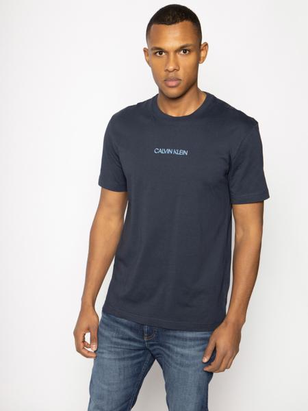 Granatowy t-shirt Calvin Klein z krótkim rękawem