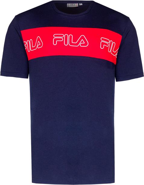 Granatowy t-shirt Fila z krótkim rękawem