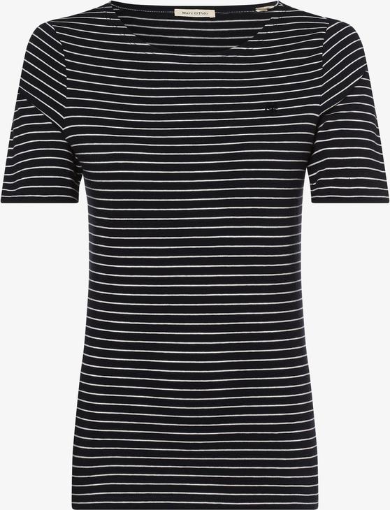 Granatowy t-shirt Marc O'Polo z okrągłym dekoltem z krótkim rękawem