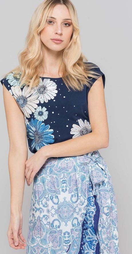 Granatowy t-shirt Monnari z krÓtkim rękawem z okrągłym dekoltem Odzież Damskie Topy i koszulki damskie XB ENQZXB-5 ekonomiczny