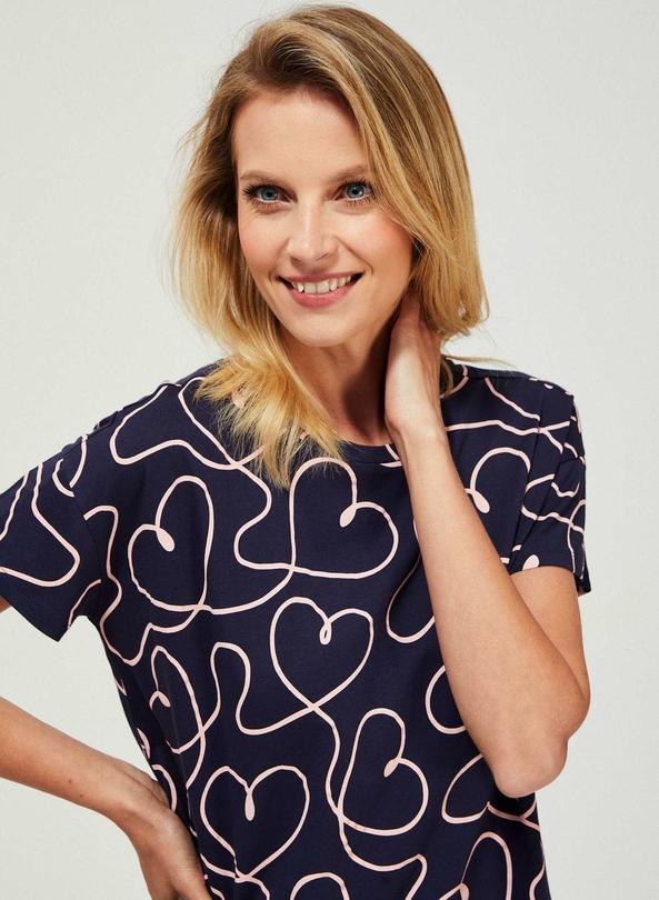 Granatowy t-shirt Moodo z okrągłym dekoltem z krótkim rękawem