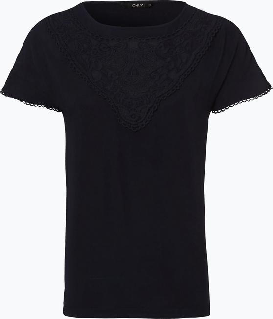 Granatowy t-shirt Only z krótkim rękawem w stylu boho