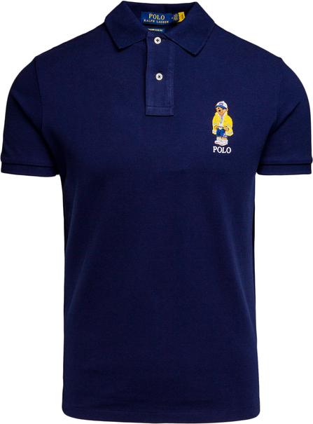 Granatowy t-shirt POLO RALPH LAUREN z tkaniny z krótkim rękawem