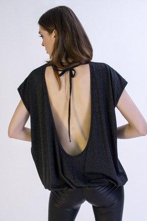 Granatowy t-shirt Sthorm z okrągłym dekoltem
