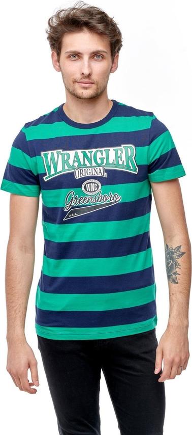Granatowy t-shirt Wrangler w młodzieżowym stylu