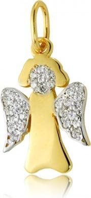 Hosa Złota zawieszka aniołek z cyrkoniami gładki (łączone złoto)