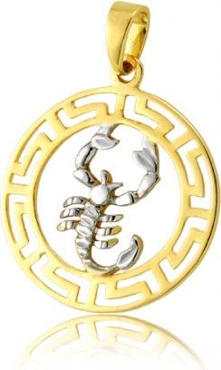 """Hosa Złota zawieszka znak zodiaku, wzór grecki """"Skorpion"""" (łączone złoto)"""