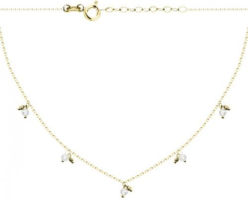 Hosa Złoty naszyjnik celebrytka zawieszki kulki struktura i białe cyrkonie