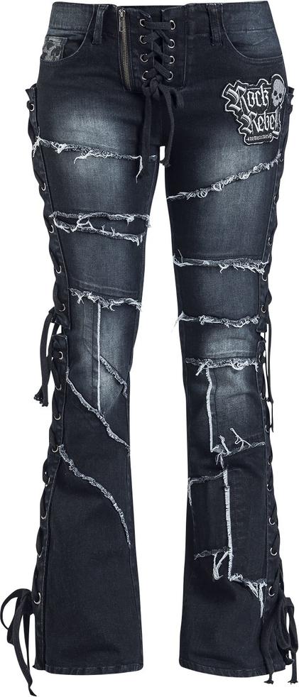 Jeansy Rock Rebel by EMP z jeansu Odzież Damskie Spodnie