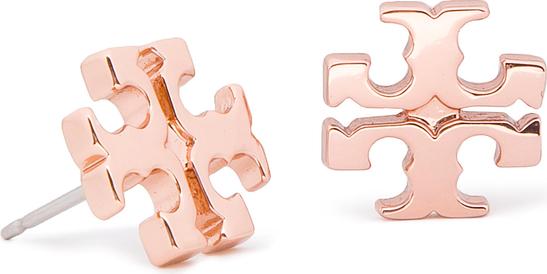 Kolczyki TORY BURCH - Logo Stud Earring 11165504 Rose Gold 652