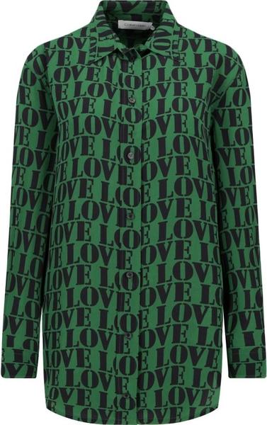 Koszula Calvin Klein w stylu casual z długim rękawem z jedwabiu