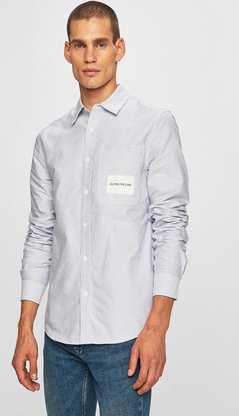 Koszula Calvin Klein z długim rękawem z klasycznym kołnierzykiem z bawełny