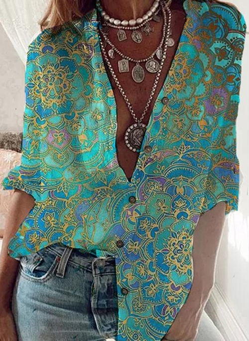 Koszula Cikelly z długim rękawem z dekoltem w kształcie litery v