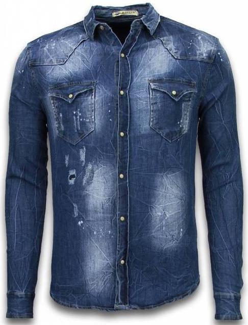 Koszula ENOS z jeansu z długim rękawem