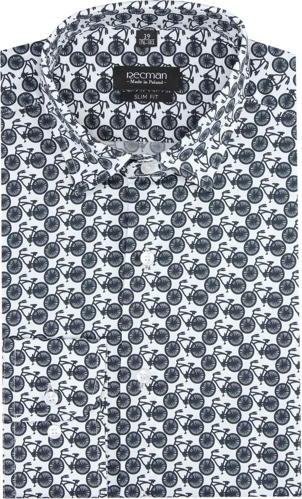 Koszula Recman z włoskim kołnierzykiem z długim rękawem