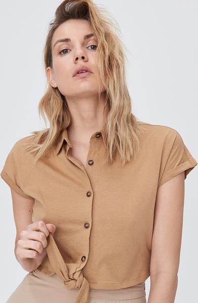 Koszula Sinsay w stylu casual z krótkim rękawem z kołnierzykiem