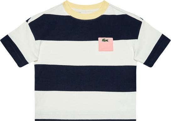 Koszulka dziecięca Lacoste z bawełny dla chłopców w paseczki