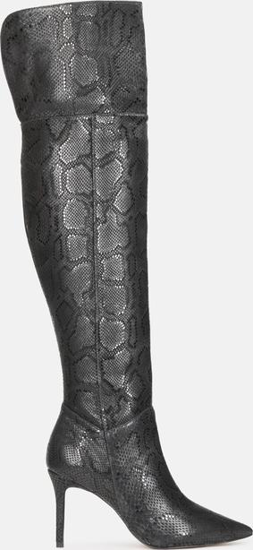 Kozaki Kazar z zamszu na szpilce w stylu glamour