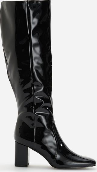 Kozaki Reserved w stylu glamour ze skóry na obcasie