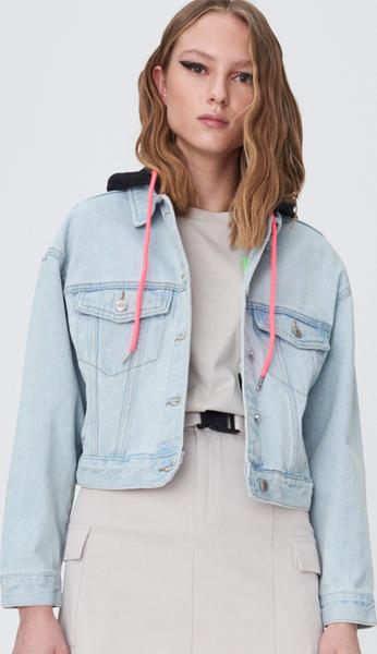 Kurtka Sinsay krótka w stylu casual z jeansu